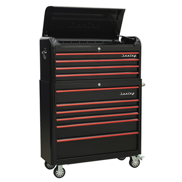 Sealey Retro Style Extra Wide Topchest & Rollcab Combination 10 Drawer (Black & Red)