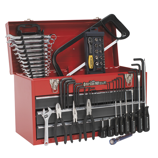Sealey 93pc Tool Kit with 3 Drawer Tool Chest (Red/Grey)