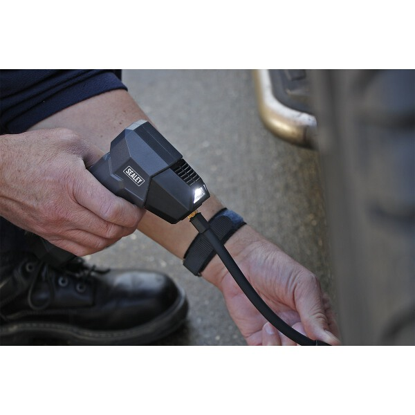 Sealey Compact Rechargeable Tyre Inflator & Powerbank with Work Light