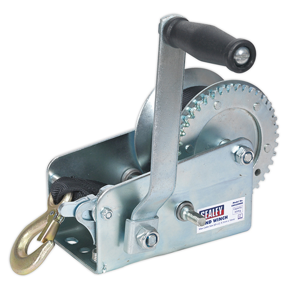 Sealey Geared Hand Winch 900kg Capacity with Webbing Strap