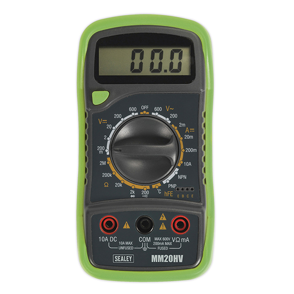 Sealey MM20 Digital Multimeter 20 Function with Thermocouple - High Vis