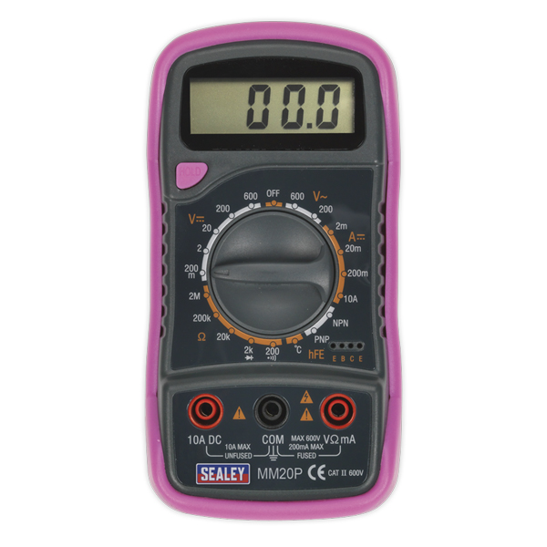 Sealey Digital Multimeter 8 Function with Thermocouple - Pink