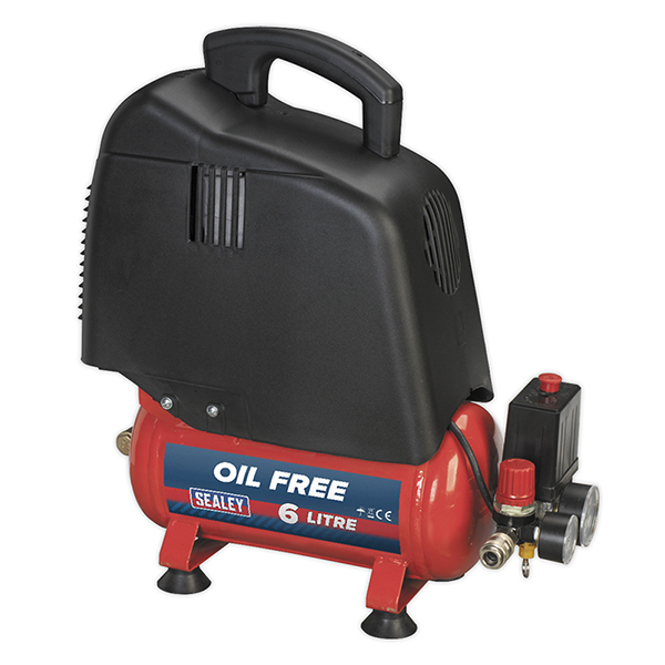 Sealey 1.5hp Compressor (6ltr Tank) Oil Free