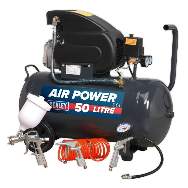 Sealey Sac5020epk Compressor 50ltr Direct Drive 2hp With 4pc Air