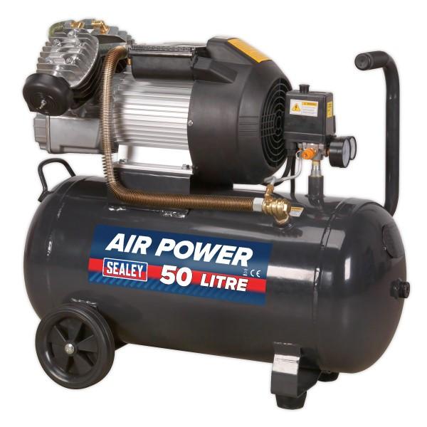 Sealey SAC5030VE Compressor 50ltr V-Twin Direct Drive 3hp