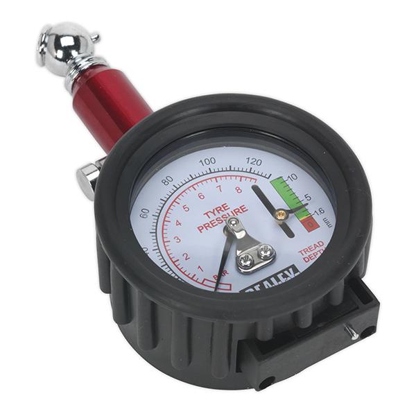 Sealey TSTPDG01 Tyre Pressure Gauge with Tyre Tread Depth Gauge 0-8bar(0-120psi)