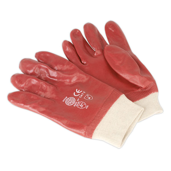Sealey SSP31 General Purpose PVC Gloves Knitted Wrist Pair